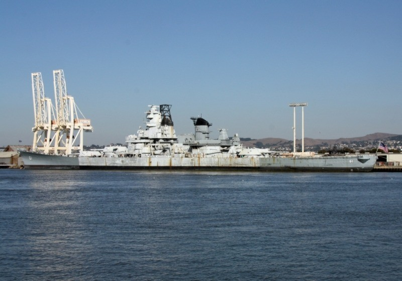 IOWA moored at pier 3 in Richmond where she will be painted and cleaned. (Photo Courtesy of Bob Fish, USS HORNET Museum)
