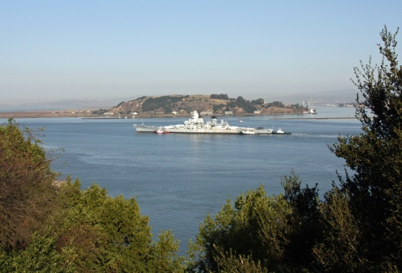 IOWA exiting the Carquinez Straits into SF bay on Friday. (Photo Courtesy of Bob Fish, USS HORNET Museum)