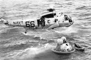 Apollo 11-3  Navy Seal gets set to help astronauts leave cap
