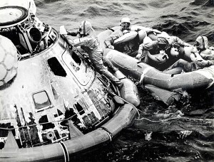 Apollo 11-4  Navy Seal closes hatch to Apollo 11 capsule