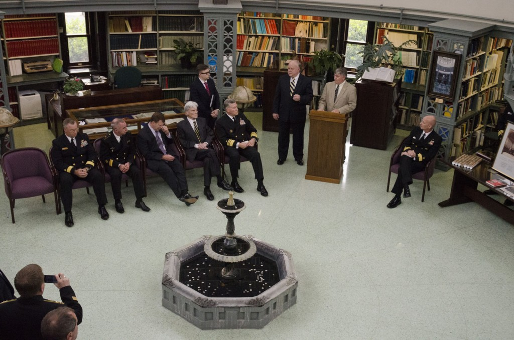 NHF Historian Dr. David Winkler (at the podium) addresses the U.S. and Russian Navy delegations during concluding ceremonies of the 40th Annual Incidents at Sea Agreement Review that was held at the Naval Observatory. U.S. Navy Photo.