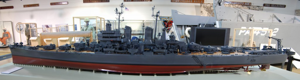 USS Worcester Model awaiting installation in the Cold War Gallery