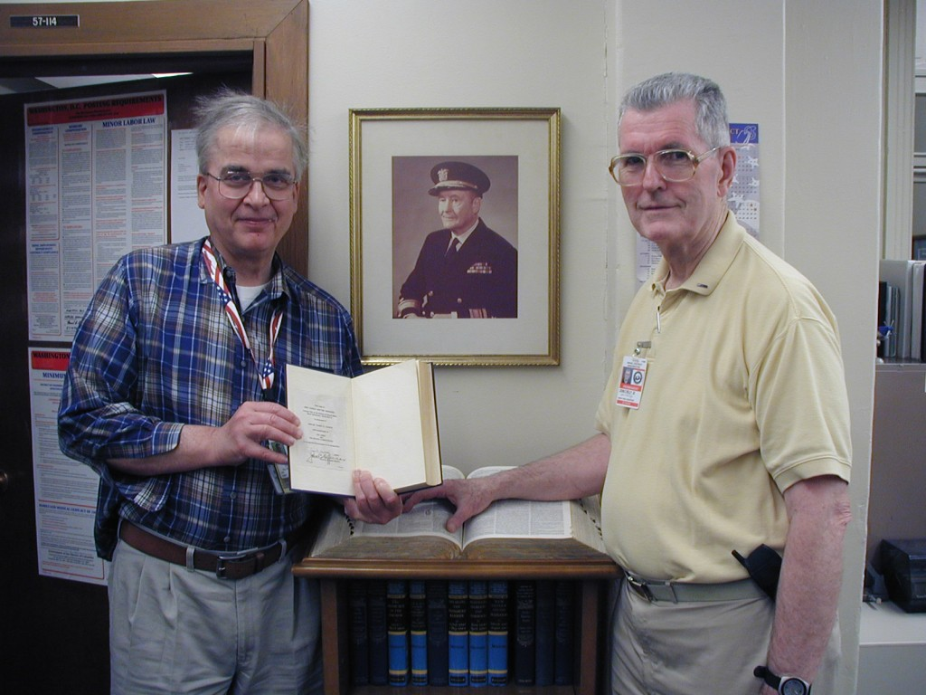 Sam Morison (left) and John Reilly (right) in the Naval Historical Foundation office