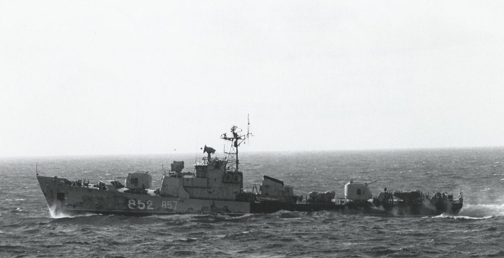 Another Petya light frigate during Operation Okean with two pennant numbers --852 and 857. US Navy photo 1143730 April 1970.