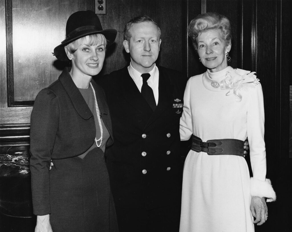 CDR DeMars at the 1972 USS Cavalla (SSN 684), with his wife ???? at left and the ship's sponsor Mrs. Melvin Price at right.