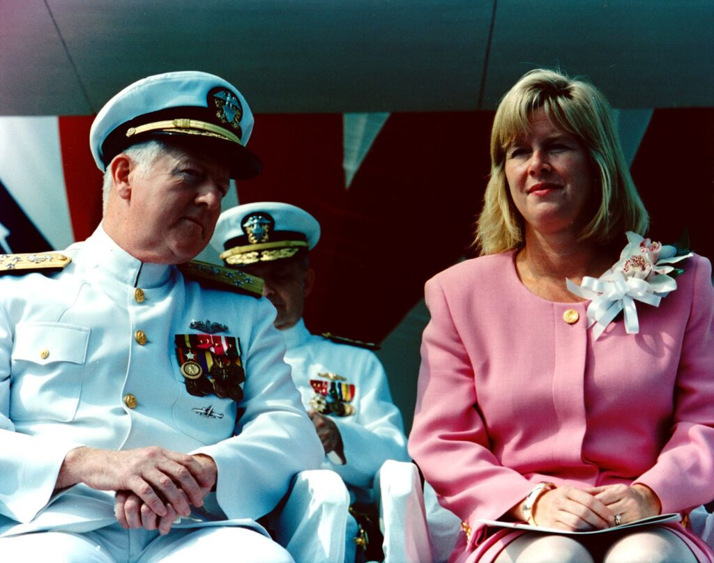 ADM DeMars chats with Tipper Gore at the 1994 christening of USS Greenville (SSN 772).