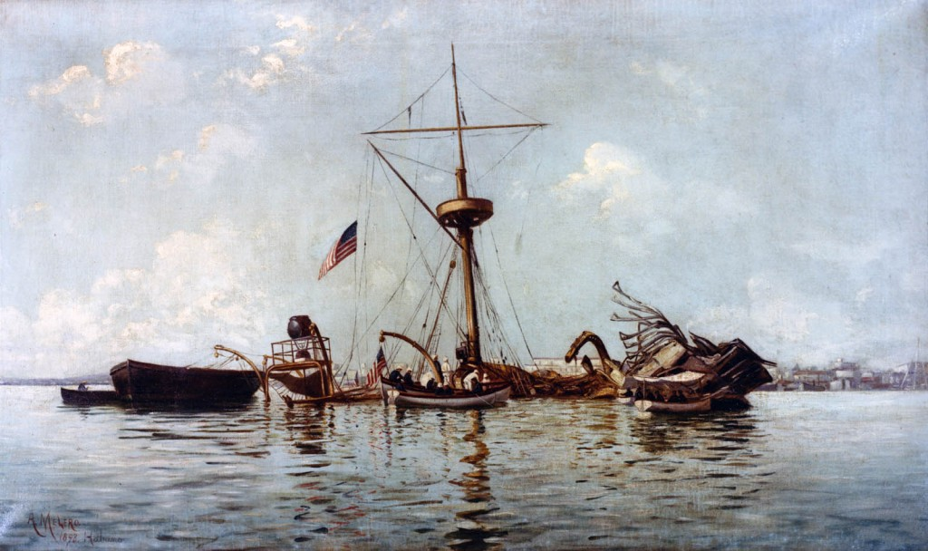 Painting of the wreck of USS Maine, by A. Melero, 1898. NHHC image KN 10967.