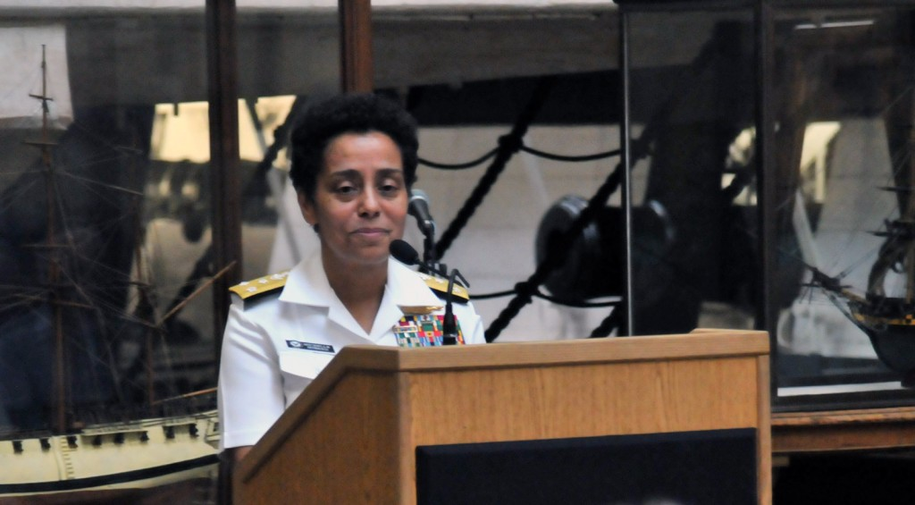 VADM Michelle Howard addresses the crowd at the Battle of Lake Erie reception