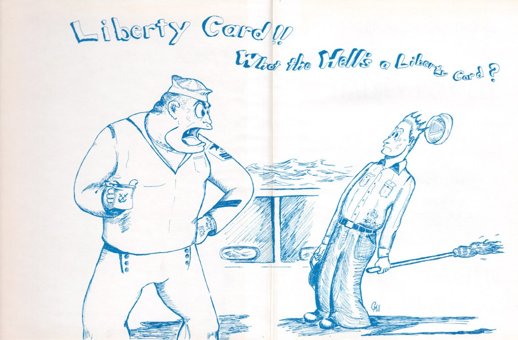 Liberty cartoon USS Halsey Powell Cruise Book 1960-1961