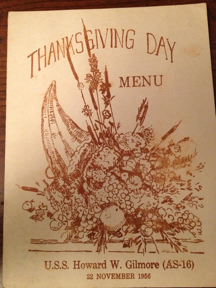 Thanksgiving Menu, USS Howard W. Gilmore