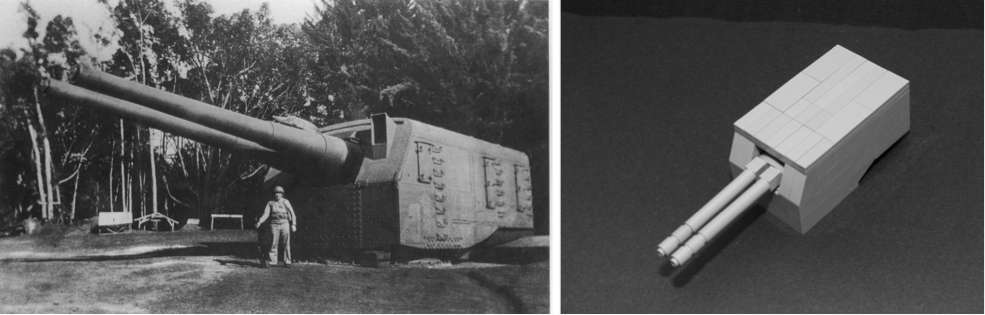 CAPTION: At left, USS Lexington 8-inch turret ashore on Oahu, 1942 (NHHC L-File). At right, my first (much too large!) LEGO gun turret design.