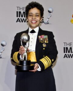 ice Adm. Michelle Howard, deputy commander of U.S Fleet Forces, poses for the press after receiving the Chairman's Award.  (U.S. Navy photo by Mass Communication Specialist 1st Class Michael O'Day/Released)