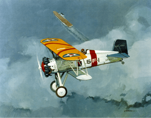 Boeing F4B-1 in flight, USS Lexington in the background. Painting by Peabody. NHHC image KN-25610.