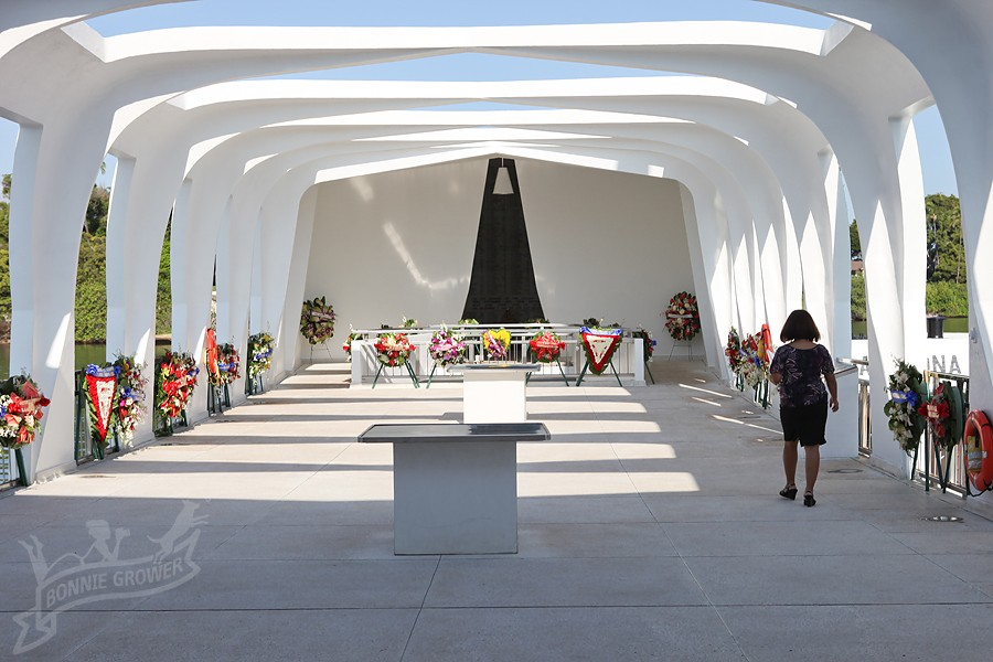The memorial above USS Arizona is decorated for the remembrance ceremony in 2010.  Photo courtesy Bonnie Grower Photography (c) 2010