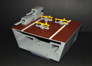 A preliminary cross section of the LEGO USS Lexington model. The finished model will be over seven feet long, and will be on display at the 2014 LEGO Shipbuilding contest at the Hampton Roads Naval Museum.