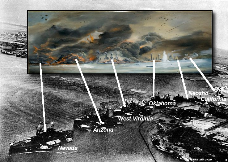 NHHC Image of Pearl Harbor attack.  You can see the ships are situated in reverse order.