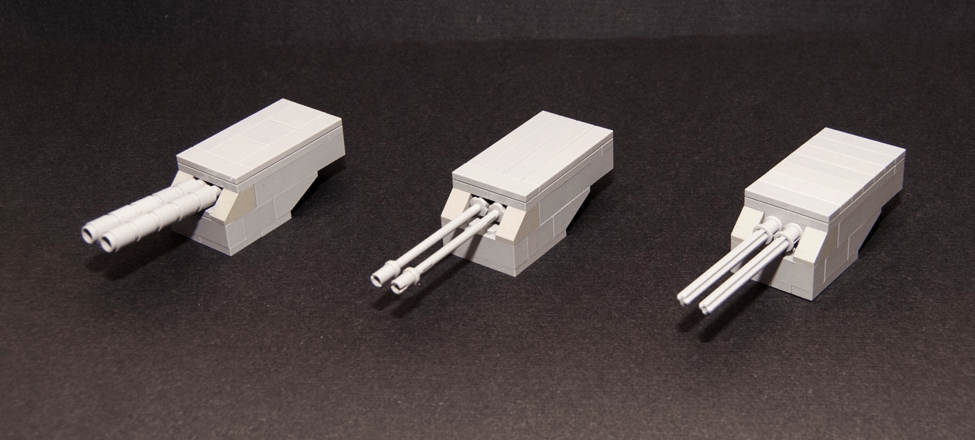 Three sample designs of a smaller LEGO turret.