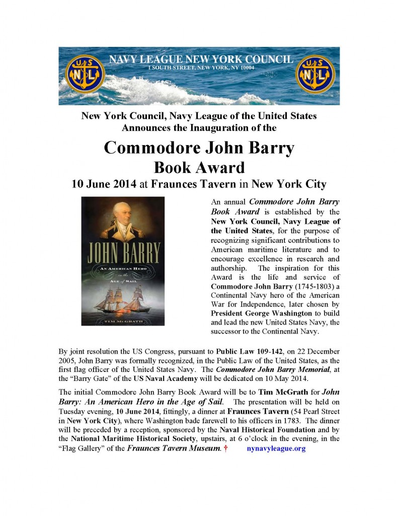 Microsoft Word - COMMODORE JOHN BARRY BOOK AWARD _ 10 JUNE 2014 _ NOTICE-1 doc