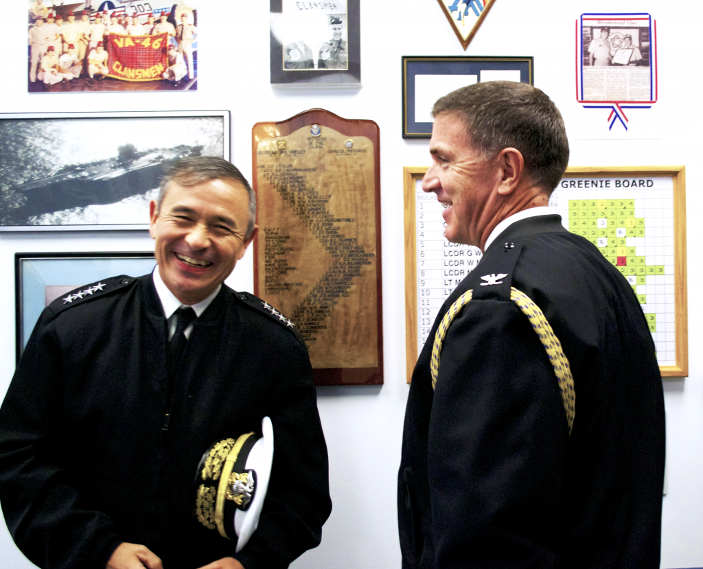Admiral Harry Harris, USN and his Executive Assistant Captain Michael Boyle, USN share a laugh during their visit to the Cold War Gallery last week.