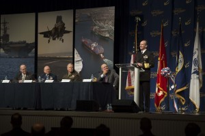 NATIONAL HARBOR, Md. (April 7, 2014) Chief of Naval Operations (CNO) Adm. Jonathan Greenert delivers remarks during the Navy League Sea-Air-Space Exposition on a service chief update panel. Greenert spoke about the Navy's ability to operate forward, mobility and readiness. (U.S. Navy photo by Chief Mass Communication Specialist Peter D. Lawlor/Released)