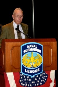 Rear Admiral Jerry Holland, USN (Ret.) speaks at the NSL History Seminar.
