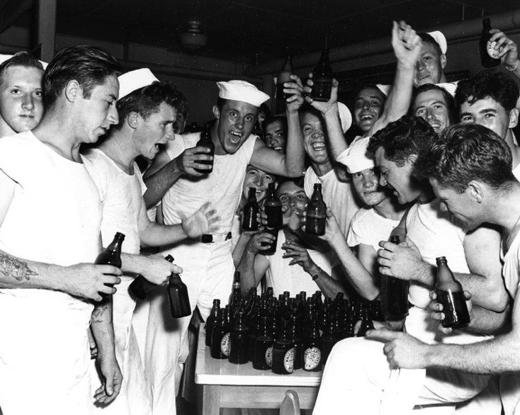 Sailors at NAS Beaufort, SC Celebrate VJ Day with Ballantine Beer