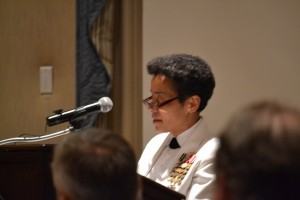 Vice Admiral Michelle Howard, USN introduces Admiral Harvey