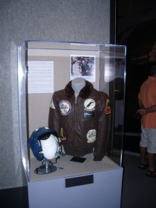 Admiral Holloway's Jacket, Helmet, and Picture at the Exhibit