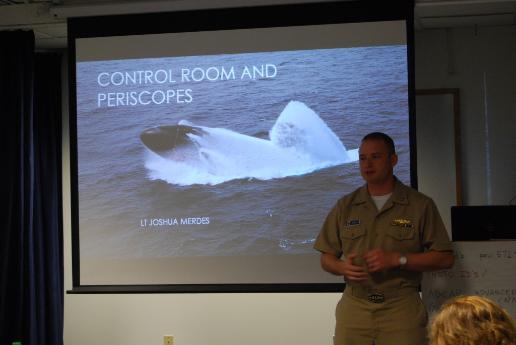 LT Josh Merdes teachers the STEM-H fellows about submarine control rooms and periscopes (NHF Photo by Matthew Eng)