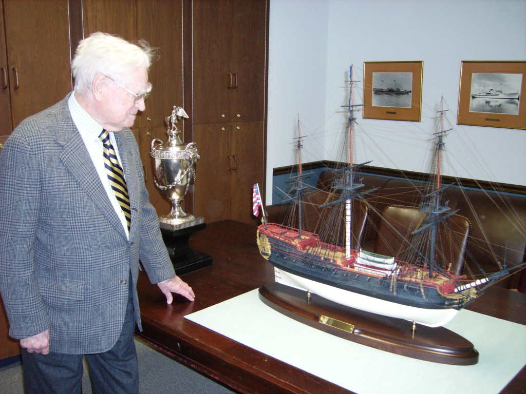 Victor Delano with Bonhomme Richard Model, 2008 (NHF Photo)