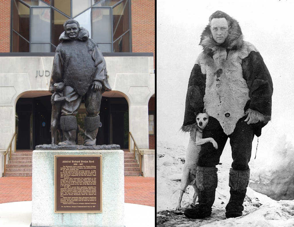 ADM Byrd Statue (Matthew Eng Photo/Released) and Admiral Byrd with Igloo (NHHC Photo)