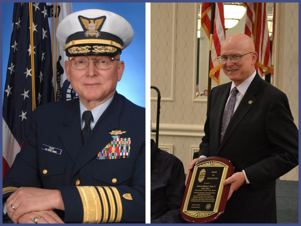 Admiral Robert J. Papp, Jr., USCG (Ret.) was awarded the National Maritime Alliance Award of Distinction by celebrated author Clive Cussler during the 10th Maritime Heritage Conference.