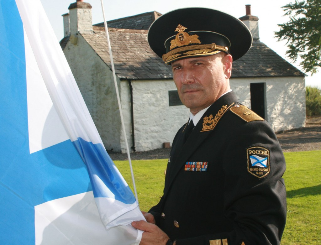 Admiral Zhurkov raises the flag of the Imperial Russian Navy (Dumfries News, 19 SEPT 2014)