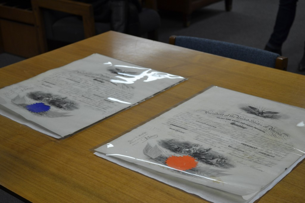 The two commission documents of Benjamin Long Edes (NHF Photo by Matthew Eng/Released)