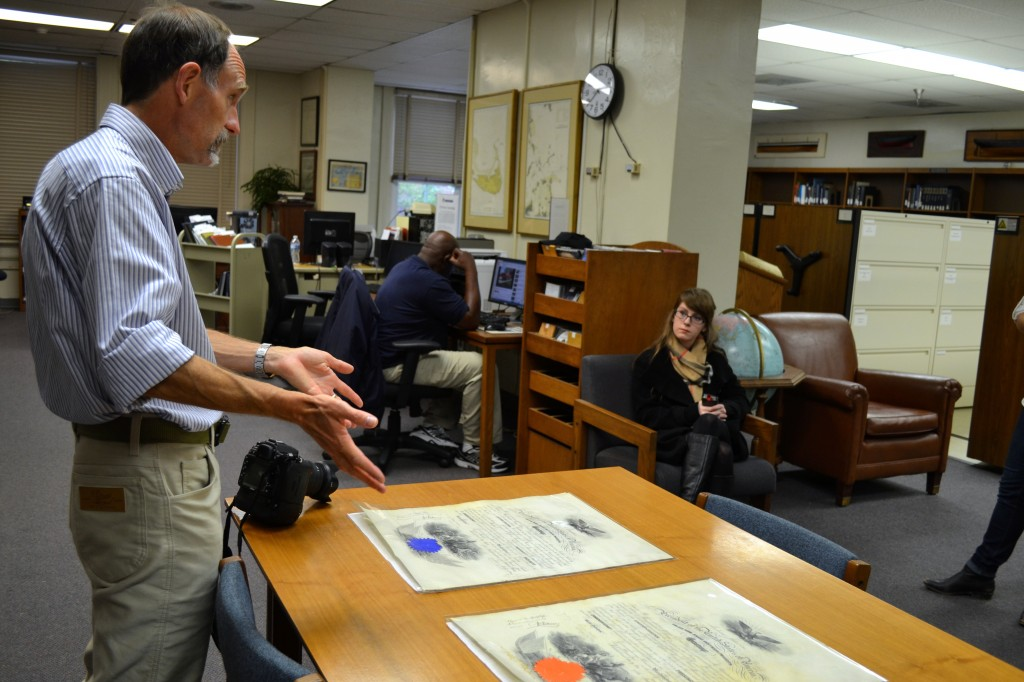 Ben Talman discusses his family history with NDL staff member Alexandra McCallen. (NHF Photo by Matthew Eng/Released)