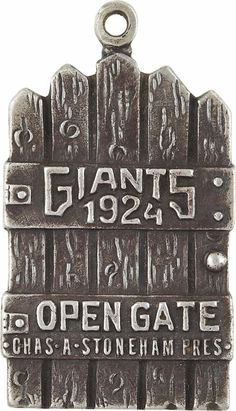 """In 1896, silver coins were given out to the champions of the National League and (then) American Association Circuit. Teams like the New York Giants issued lifetime passes to the Polo Grounds throughout the early twentieth century.   According to a brief history of the metal passes in the latest issue of the Numismatist, you had to be an """"important person"""" of prestige to receive the silver passes. (Image Credit: Pinterest)"""