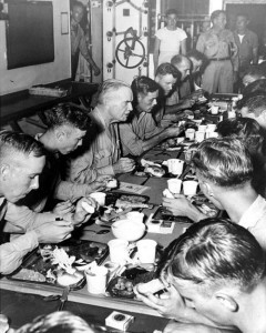Admiral Halsey eats Thanksgiving with USS New Jersey Sailors, 1944.