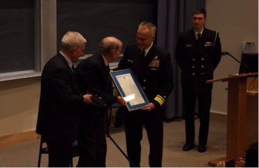 NEW HAVEN, Conn. (Nov. 20, 2014) U.S. Naval War College (NWC) president Rear Adm. P. Gardner Howe III and NWC professor John B. Hattendorf present Yale University professor Paul M. Kennedy the Hattendorf Prize for Distinguished Original Research in Maritime History, Nov. 20, at Yale. First awarded in 2011, the prize is made to an individual who has made world-class achievement in original research, contributing to a deeper historical understanding of the broad context and interrelationships involved in the roles, contributions, limitations and uses of the sea services in history. (Courtesy photo)