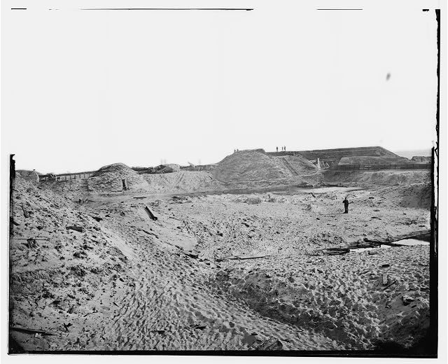 Fort Fisher, N.C. Interior view of southeast end, showing site of main magazine (LOC Image:  LC-DIG-cwpb-03673)