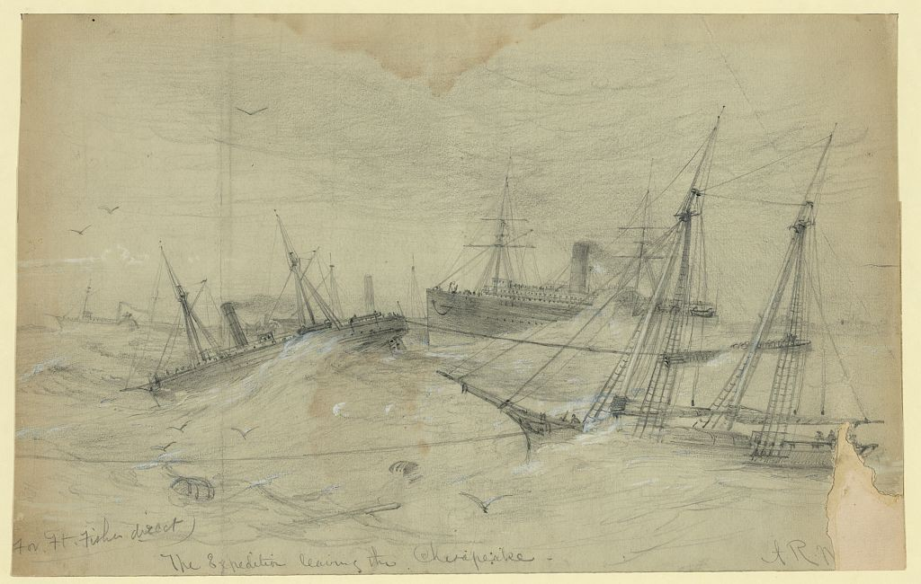 The Expedition Leaving Chesapeake, by Alfred Waud (LOC Image:  LC-DIG-ppmsca-21456)