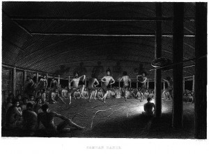 Samoan Dance, Charles Wilkes, Narrative of the United States Exploring Expedition during the years 1838, 1839, 1840, 1841, 1842. Volume 3, 1845 (Image via Smithsonian)