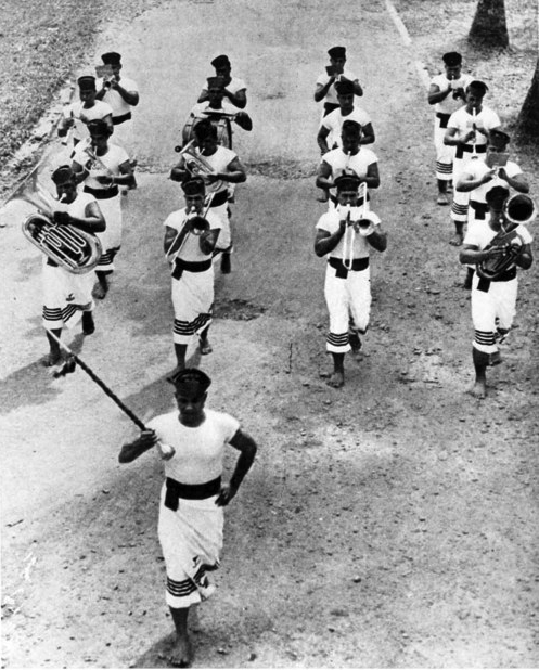 """One of the Navy's most unusual units is the Fita Fita Band, at U.S. Naval Station, Pago Pago, tutuila, American Samoa (All Hands Magazine, April 1949)"