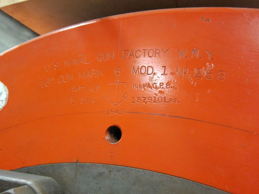 "Inscription on 16"" gun barrel. (Photo by Bob Fish)"