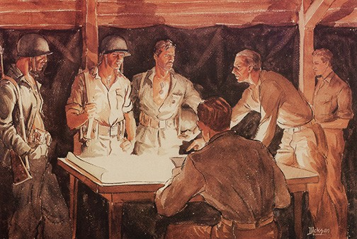 Instructions to a Patrol by Capt Donald L. Dickson, USMCR. USMC Combat Art Collection