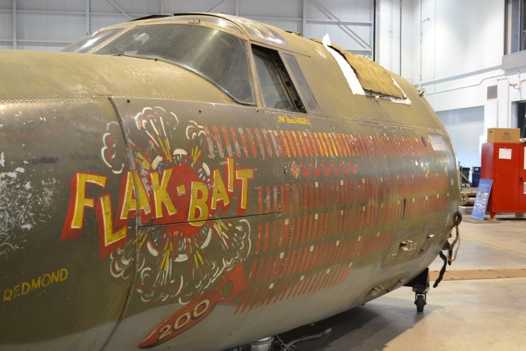 """Flak-Bait"" fuselage inside the Restoration Hangar Phoo"