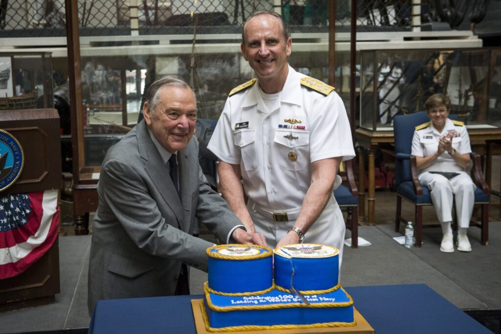 WASHINGTON (May 11, 2015) Chief of Naval Operations (CNO) Adm. Jonathan Greenert and retired Adm. James Holloway, former CNO, cut the cake during the centennial celebration for the office of the Chief of Naval Operations and Navy staff at the Washington Navy Yard. (U.S. Navy photo by Mass Communication Specialist 1st Class Nathan Laird/Released)