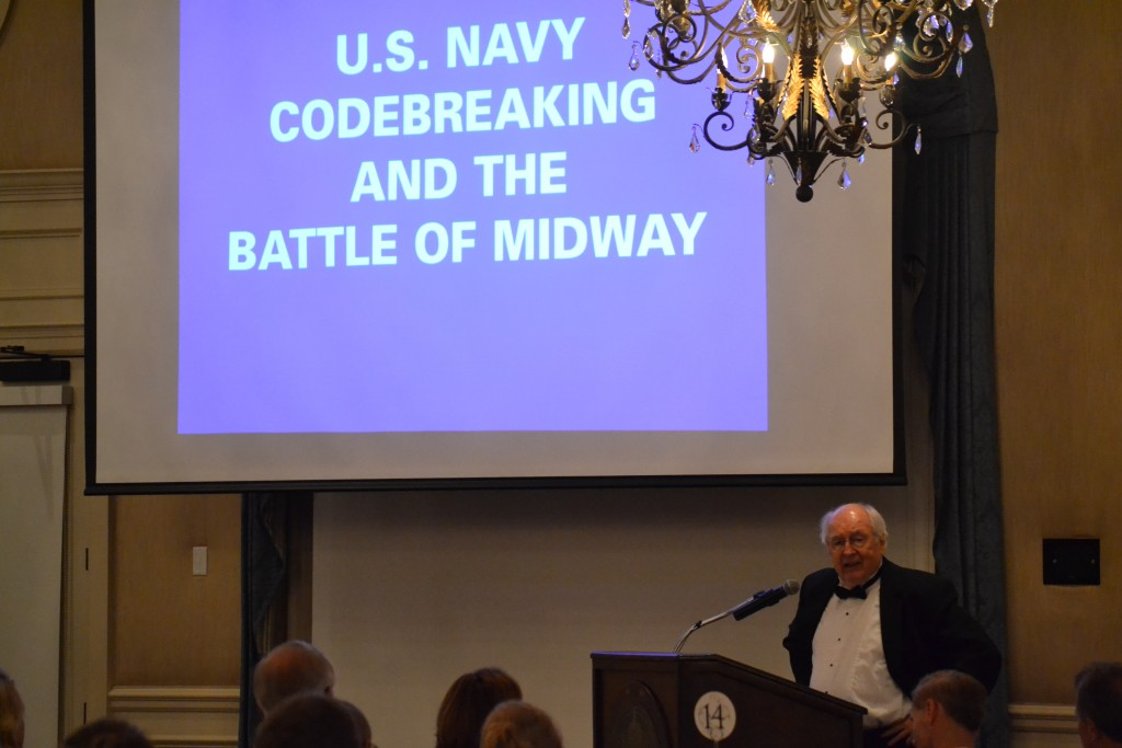 Author Elliot Carlson talked about U.S. Navy codebreaking efforts at the Battle of Midway. INHF Photo)
