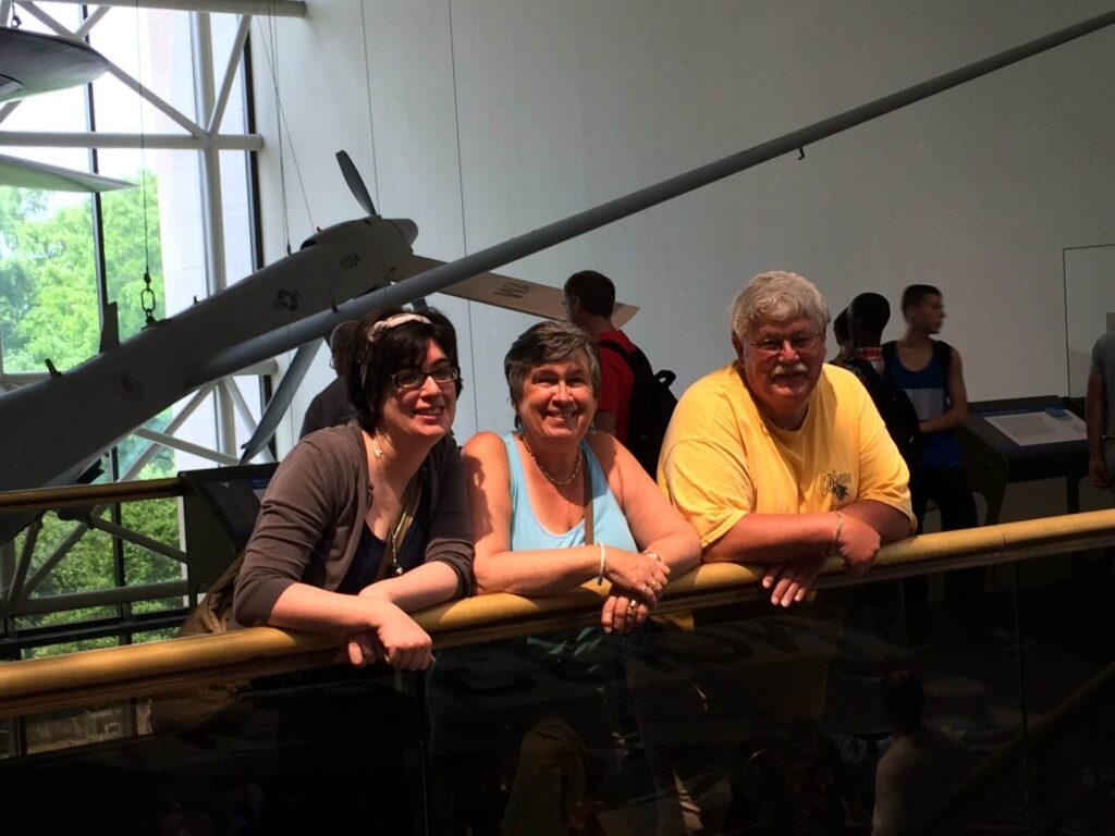 Angela Harrison Eng, Anne Harrison, and John Harrison at the Air and Space Museum in Washington, DC