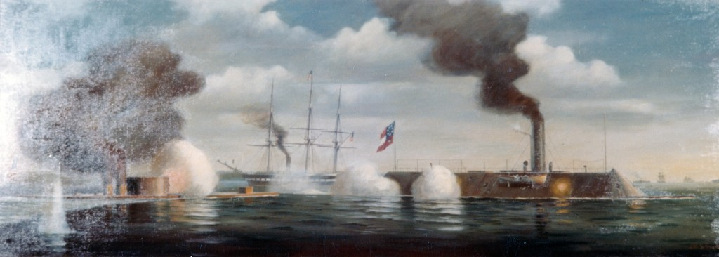 USS Monitor vs. CSS Virginia, 9 March 1862  Painting by Rear Admiral John W. Schmidt, USN(Retired), 1967-68, located at the Marine Midland National Bank, Troy, New York.  Courtesy of the Marine Midland National Bank.  U.S. Naval History and Heritage Command Photograph.
