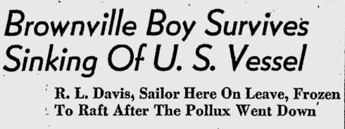 Newspaper headline, Tuscaloosa News, March 25, 1942